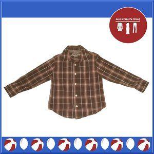 Arizona Brown Plaid Long Sleeve Dress Shirt